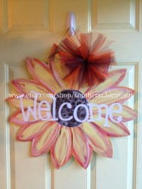 Items similar to Sunflower Wooden Door Hanger on Etsy