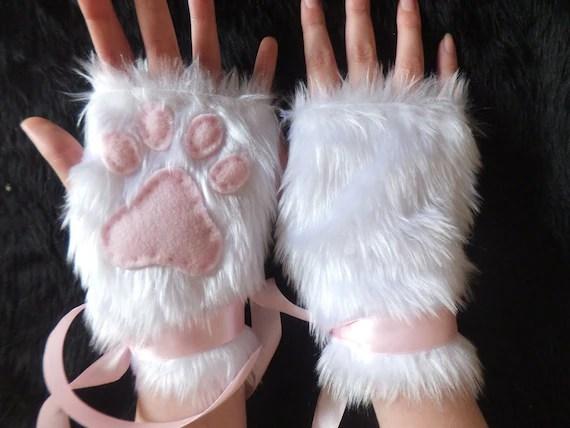Cute White Furry Cat Snow Fox Neko Pink Paw Print Fingerless