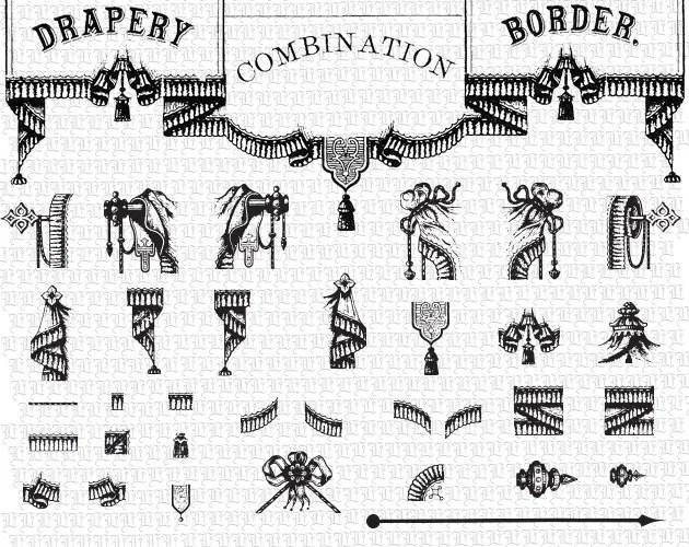 Antique Drapery Border Combinations Vector Adobe Illustrator