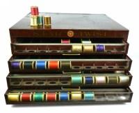 Antique Star Thread Display Case Wooden Thread Spool Cabinet