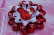 red christmas hair bow loopy flower