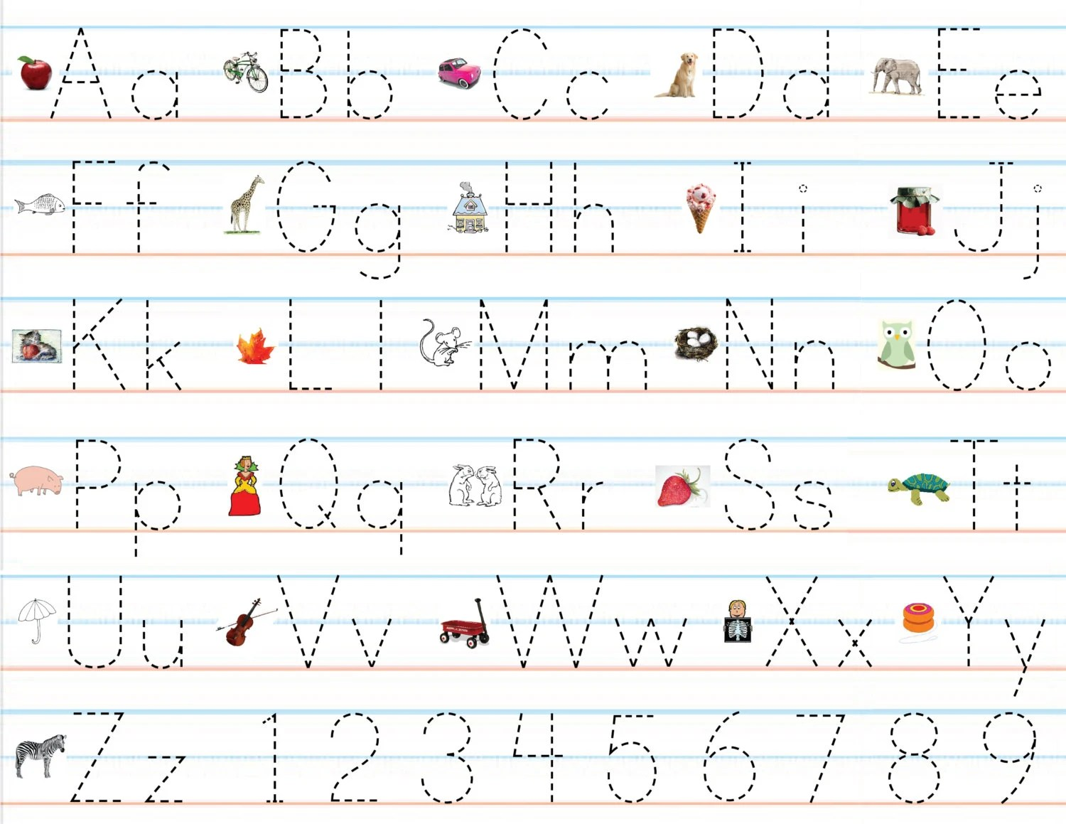 Items Similar To Laminated Alphabet Amp Number Sheets For