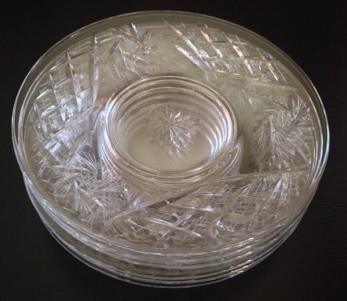 Vintage Set Of 6 Crystal Pinwheel Plates 6