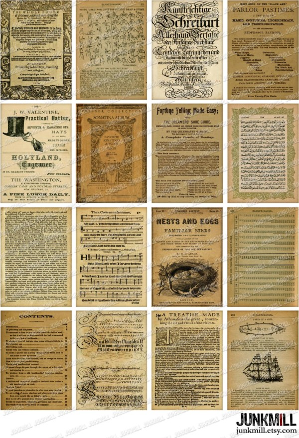 Book Pages Digital Printable Collage Sheet 16 Vintage