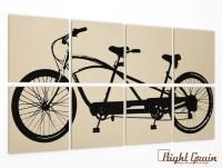 Tandem Bicycle Wall Art Large Bike Screen Print by RightGrain