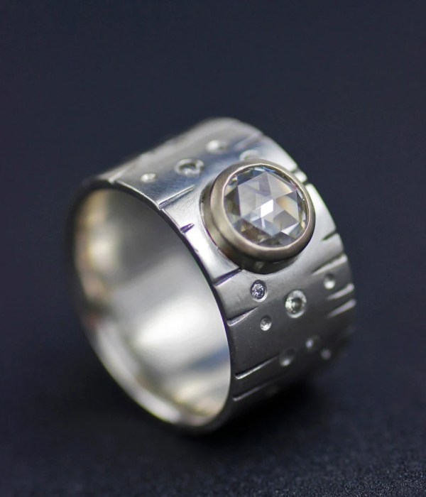 Modern Wide Band Engagement Ring Full Moon With Stars