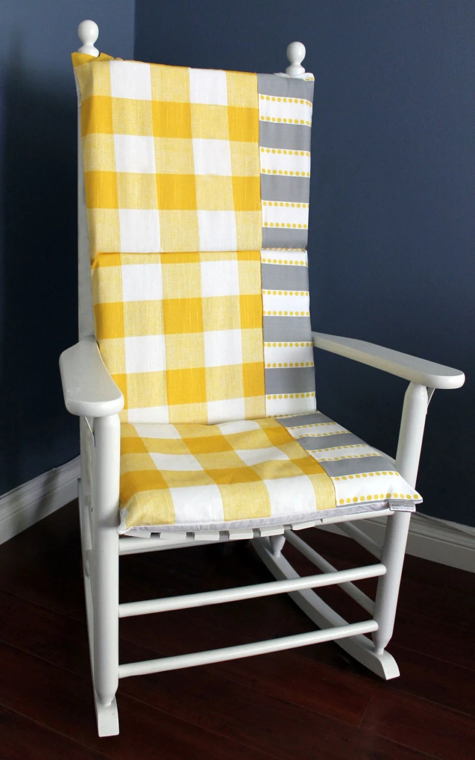 oversized rocking chair cushions spandex covers rental houston on sale cushion yellow gingham grey
