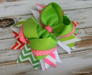 pink and green chevron hair bow