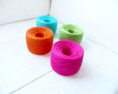 Bright mix of linen yarns for Spring knitting projects - neon hot pink turquoise orange green - YarnStories