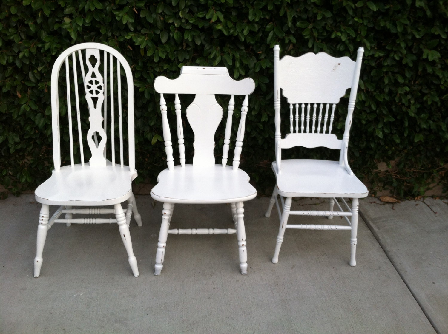 Mismatch dining chairs set of 3 white shabby chic for Kitchen set los angeles