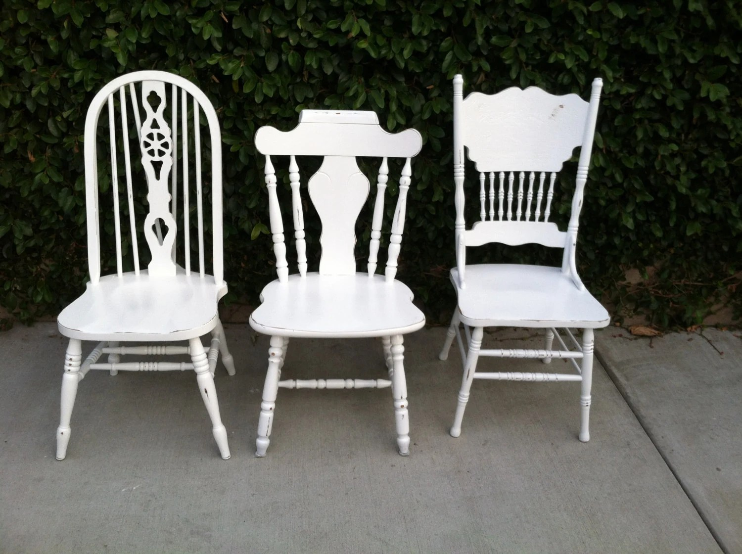 Mismatch Dining Chairs Set Of 3 White Shabby Chic