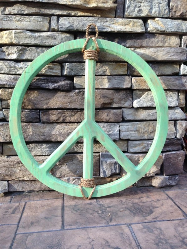 Peace Sign Mint Hand Weathered Reclaimed