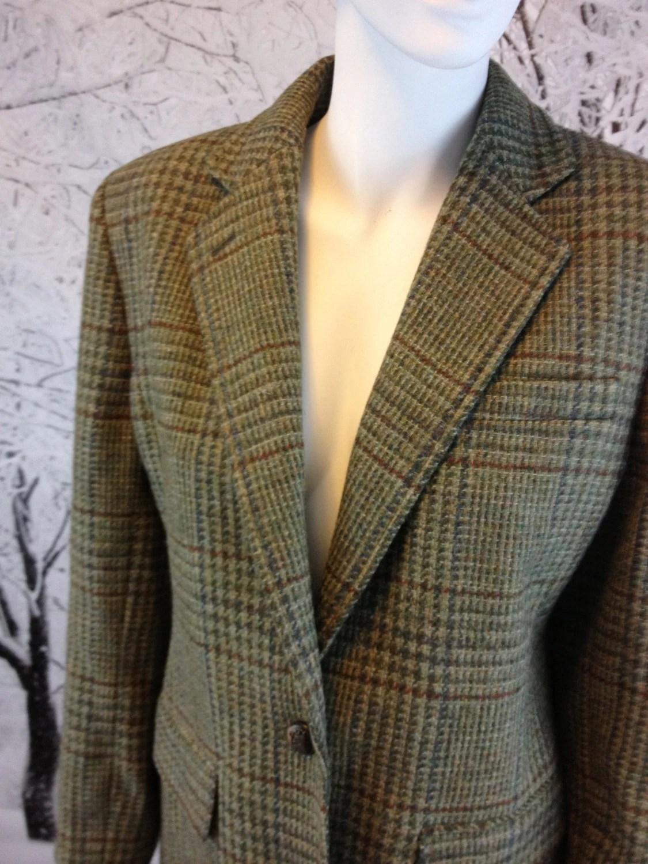 Vintage Ralph Lauren Olive Green Plaid Tweed Equestrian Jacket