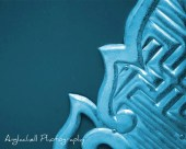 Digital Download Photography, Shrine Door - Japan Photo Abstract - Cyan - Anglachell