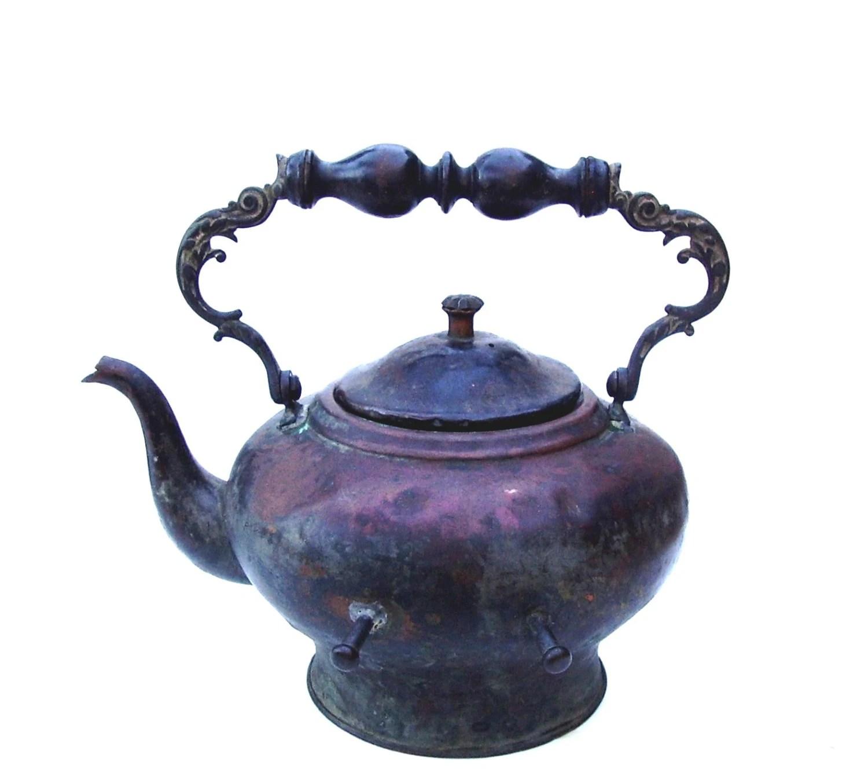 Antique Copper Tea Kettle Vintage Hearth Fireplace Teapot