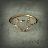 Gold cat ring Cat ring solid 14k yellow gold Jewelry by
