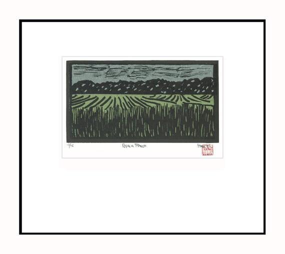 Linoleum block print with collage Nyala Farm Westport