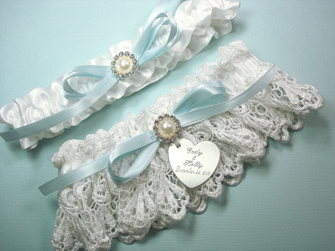 White & Blue Wedding Garter Set Personalized Garters With