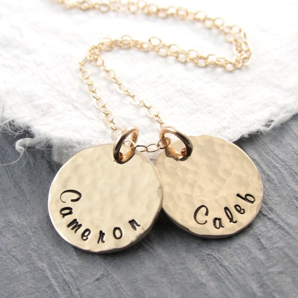 14k Gold Personalized Necklace Hammered Solid