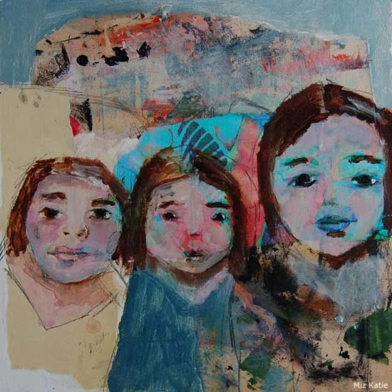 Acrylic Portrait Collage Painting 10x10 Original, Mixed Media, Three Sisters on a Camping Trip, blue, yellow, red