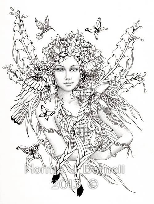 Fairy of the Forest Fairy Tangles Coloring by FairyTangleArt