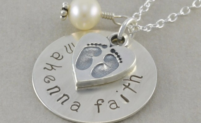 Hand Stamped New Mom Necklace Personalized By