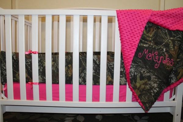 Pink & Mossy Oak Camo With Minky Dot Baby Crib Bedding Set