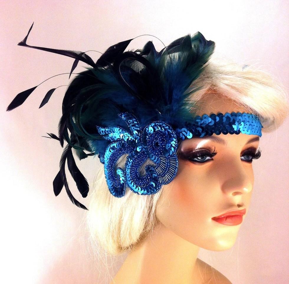 Gatsby Headband, Flapper Headband, Downton Abbey, Headband, 1920s Head Piece, Art Deco Headband, Turquoise Headband, Speakeasy
