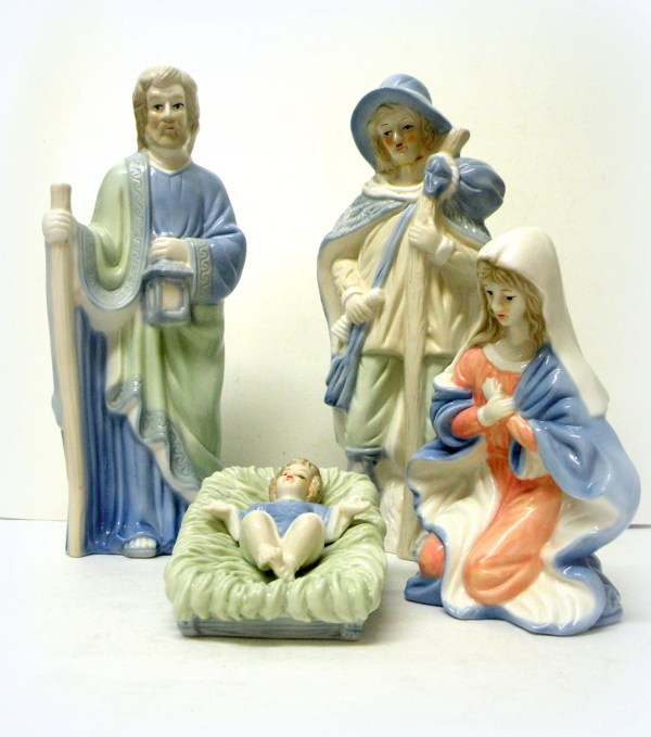 Vintage Porcelain Nativity Set Fontanini Blue White Virgin