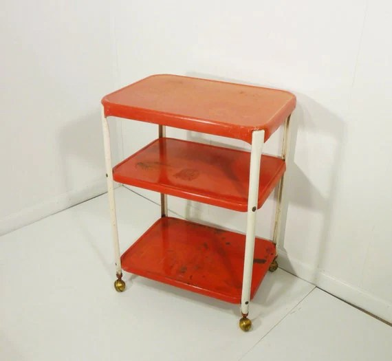 Cosco chippy red metal kitchen cart movable painted vintage