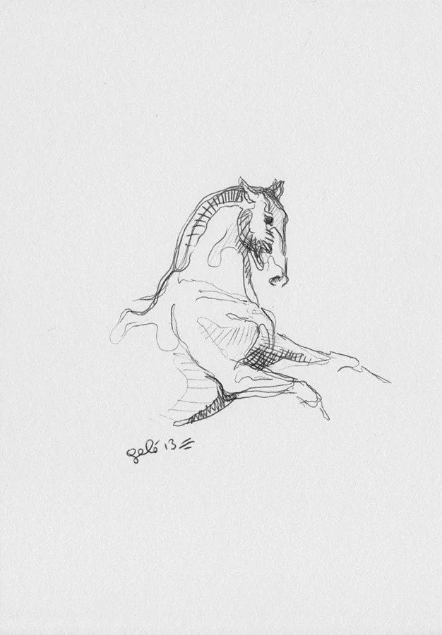 Original Sketch 206 of a Rearing Up Horse