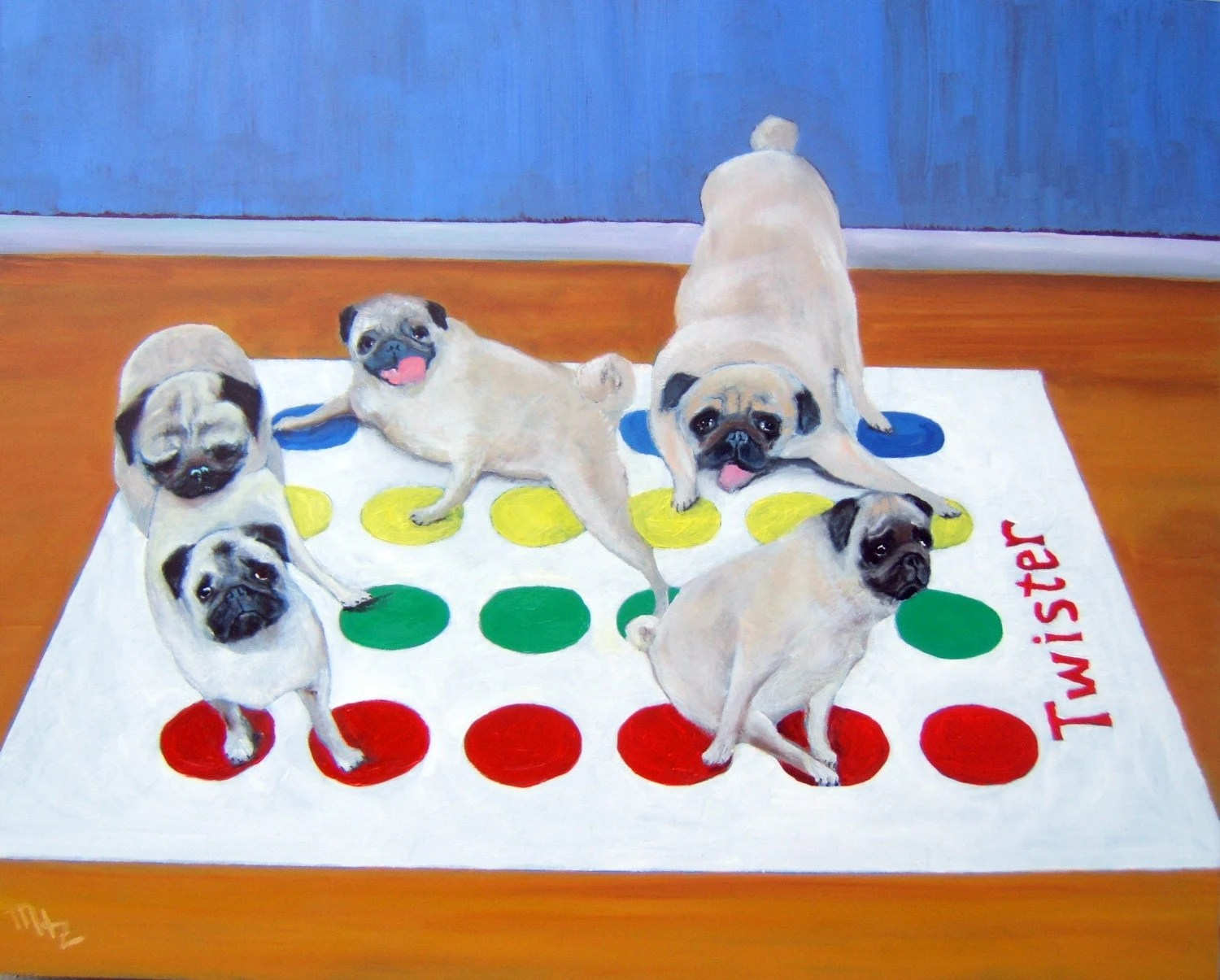 "Pug Dog Art Print / ""Twister"" / by Original Mike Holzer"