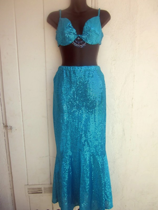 Vintage Aqua Sequin Mermaid Costume. Bikini Top With Long