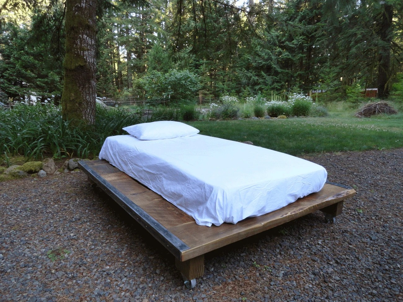 Rustic Wood And Steel Platform Bed Queen Size By