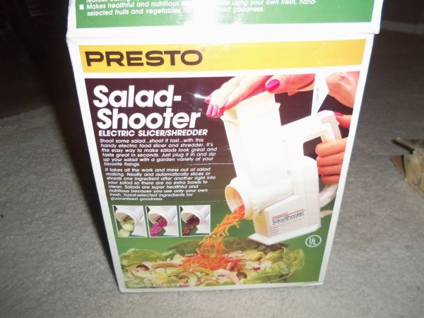 Vintage 1988 Presto Salad Shooter Electric Slicer Shredder