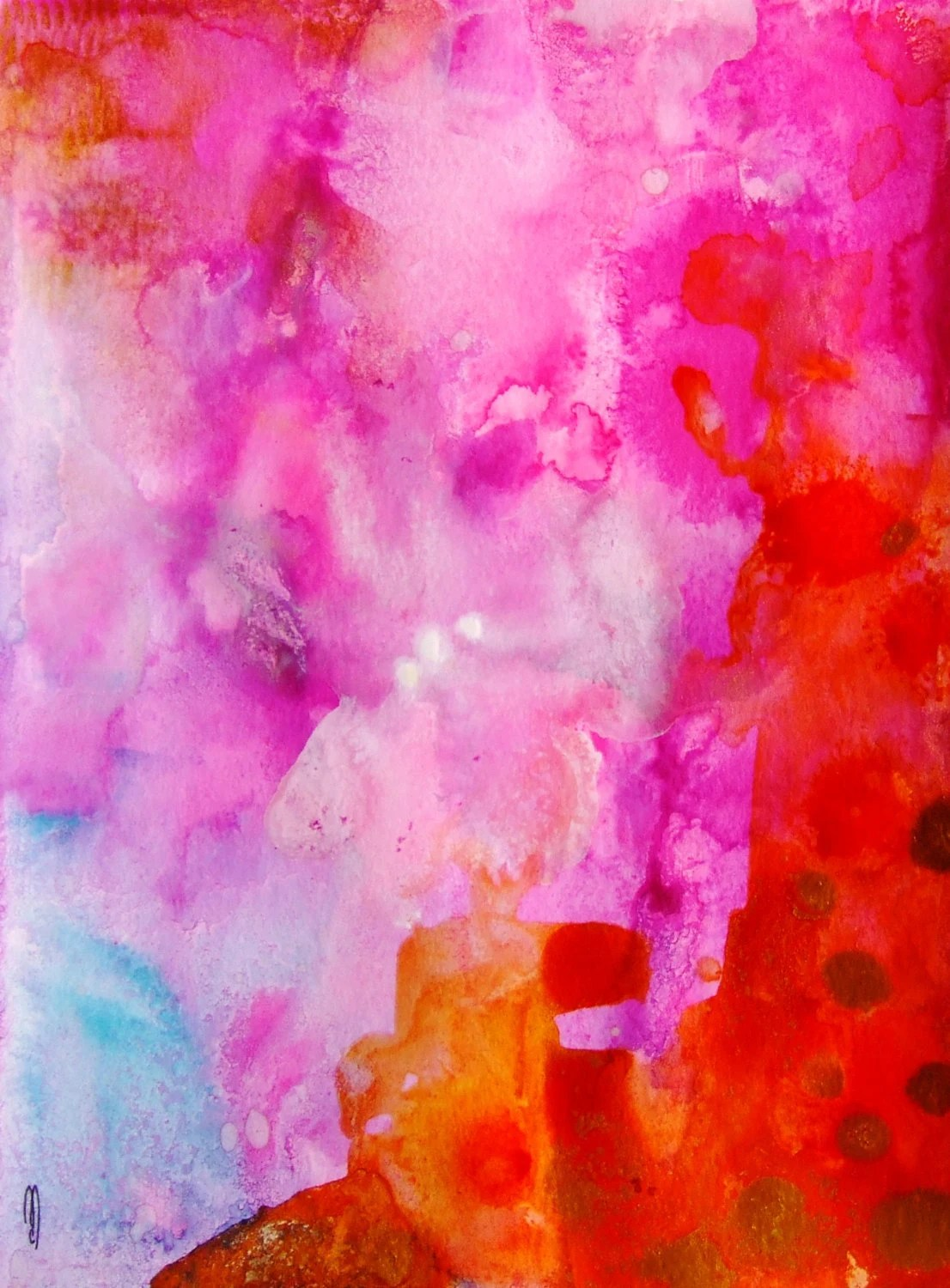 Abstract Art Abstract Painting Abstract Landscape Abstract Decor Pink Gold Contemporary Art Fine Art Watercolor Ink Abstract Wall Art - CelineArtGalerie