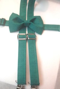 Dark Teal suspender and bow tie for boys by PinkysAccessories