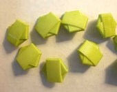 Geometric hexagonal lime green acrylic button - 2cm buttons - 3/4 button - Button Post earrings - sasakimu