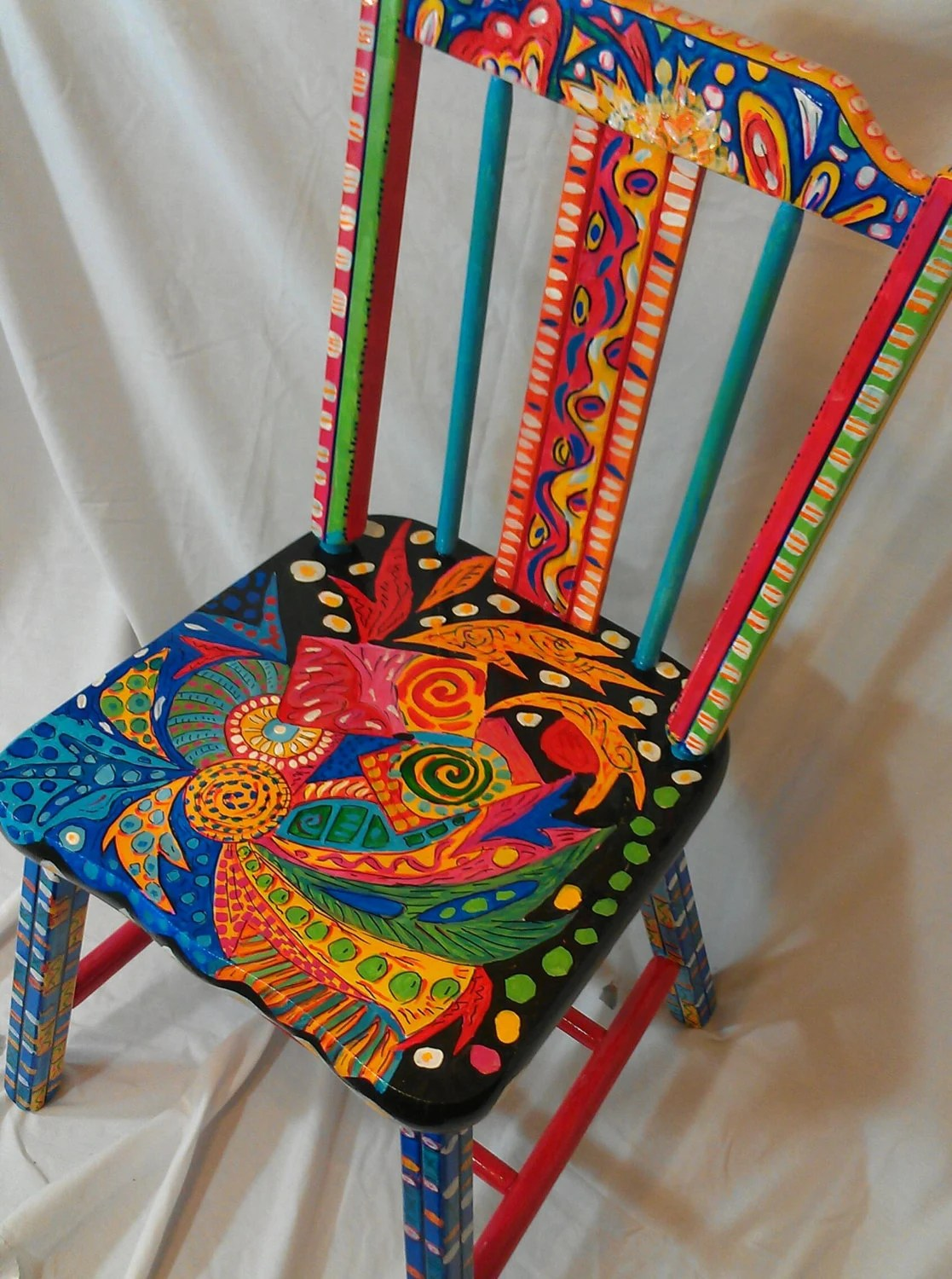 hand painted wooden chairs chair design store abstract ooak functional art