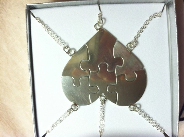 Sterling Silver Friends Puzzle Heart Necklace