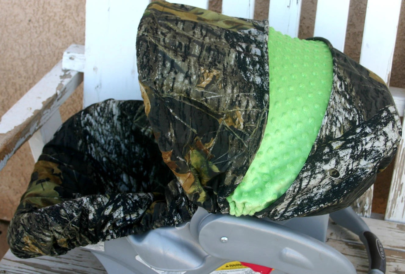Mossy Oak Camo with lime green minky Car seat cover and hood