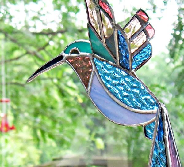 Stained Glass Hummingbird Art. Large 3d Sun Catcher Window