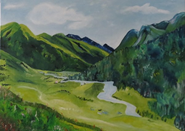 Countryside Green Mountains Nature Painting Landscape