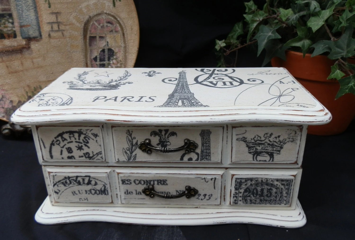 Upcycled Jewelry Box Paris Theme Wood Finished in Annie Sloan