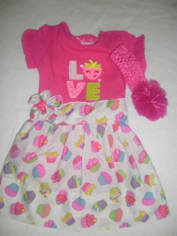 Baby Onesie Cupcake T-shirt Dress With Ruffled Bum