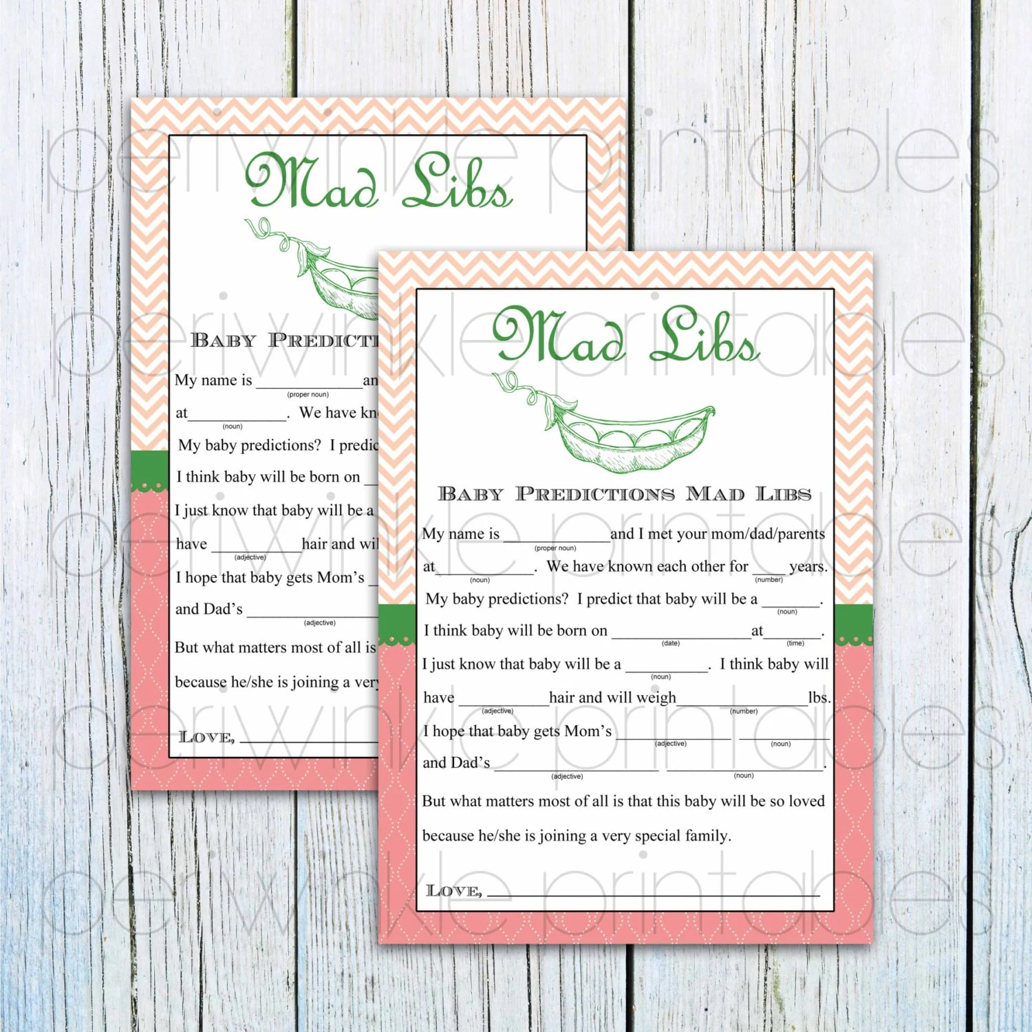 Printable Baby Shower Game Baby Shower Mad Libs Sweet Pea