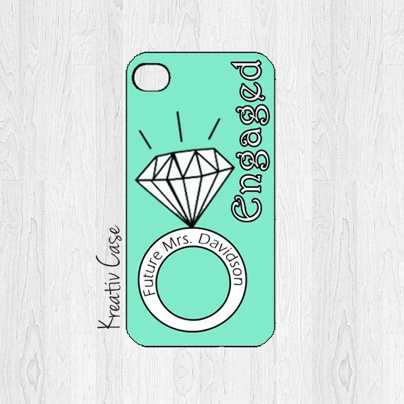 Engaged Monogrammed iPhone Case, iPhone 4, iPhone 4S, Engagement Gift iPhone Case, Personalized iPhone Cover - K033