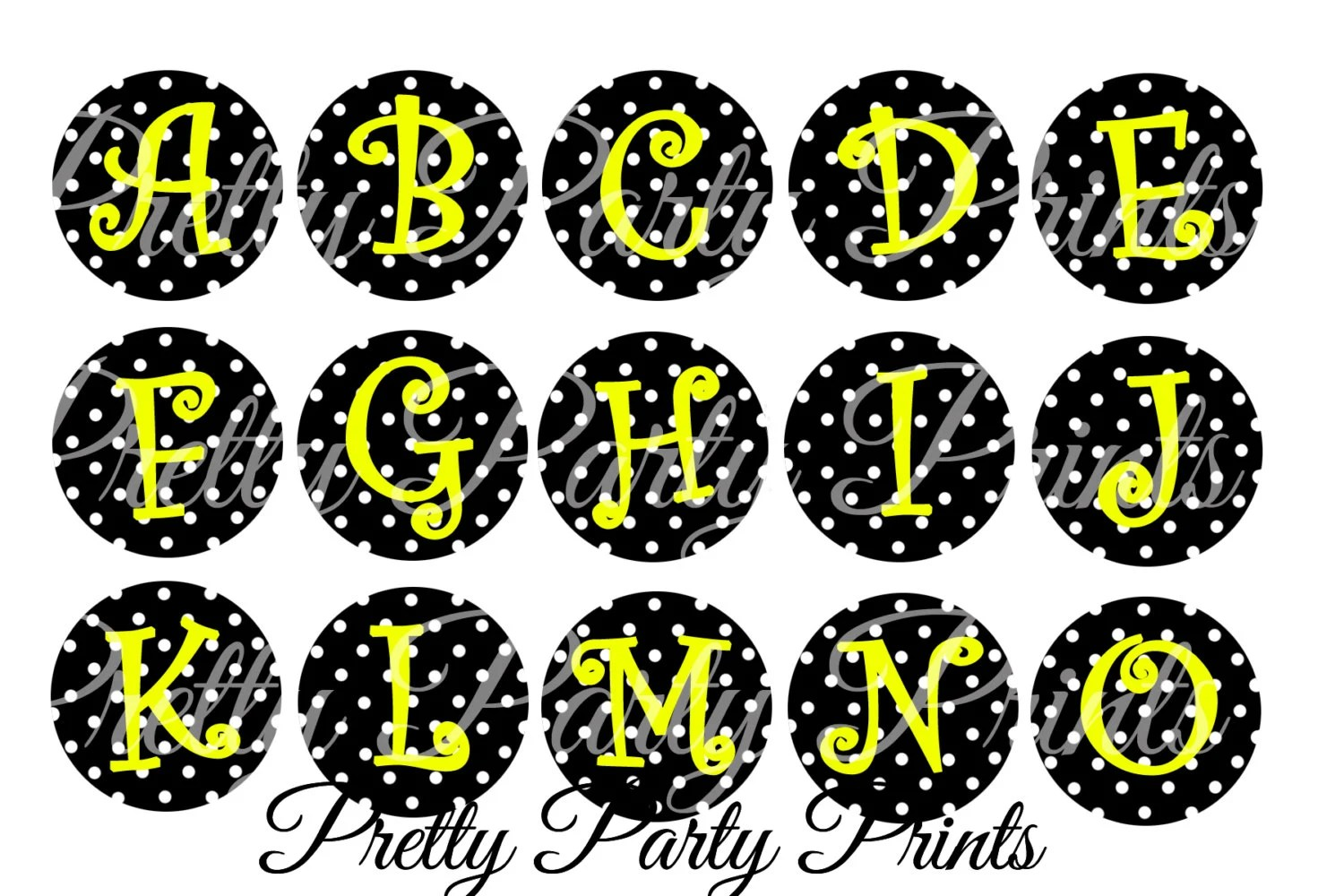 Instant Download Polka Dot Bumblebee Alphabet 1 Inch Round Circles For Bottle Caps Hair Bows