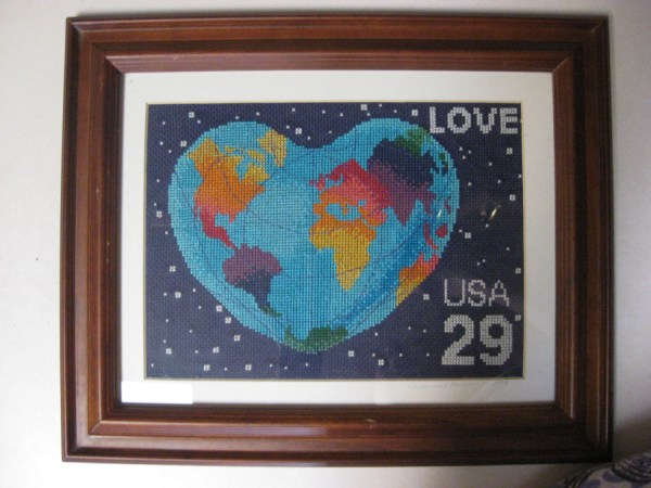 Framed Counted Cross Stitch Love Usa 29 Cent Stamp Heart Earth