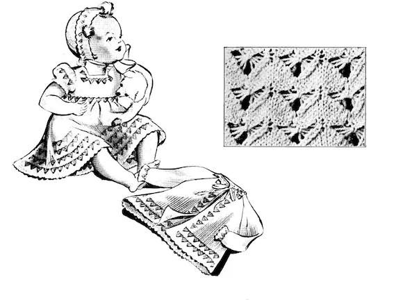 Items similar to Fan stitch dress and matinee coat set